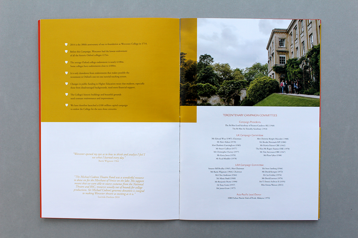 Worcester college tercentenary brochure worcester college the brief included designing complementary inserts and business cards the finished brochure was printed on silk with a pocket on the inside back cover for reheart